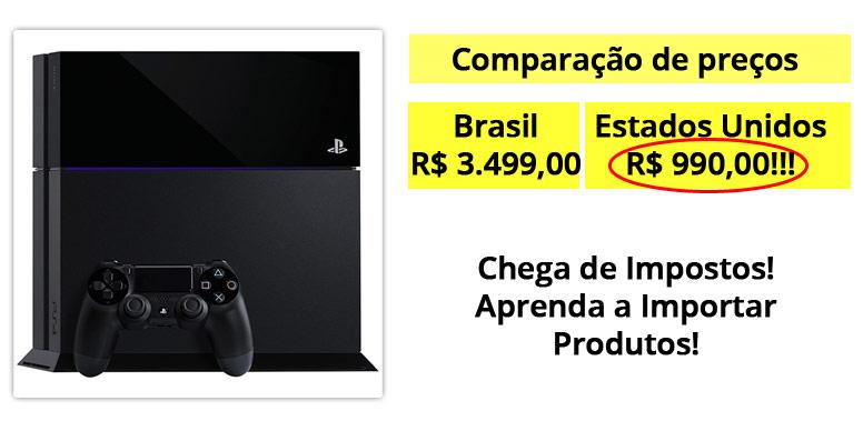 Comparação preços Playstation 4 Brasil x EUA